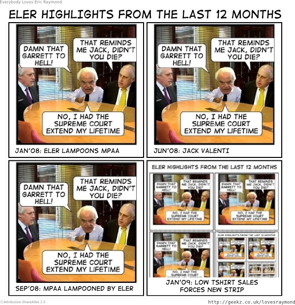 ELER lazily reuses previous strips and jokes in an attempt to sell more tshirts. yawn.